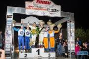 Het podium van de Hellendoorn Rally 2014. Met v.l.n.r. Davy Thieire, Bernhard ten Brinke - Dennis Kuipers - Robin Buysmans - Hans van Goor en Kevin Kooijman