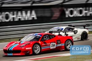 Patrick van Glabeke en Frederique Jonkheere in de Ferrari 458 GT3 tijdens de Supercar Challenge race op de Nürburgring