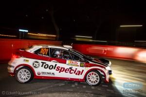 Ruurd Ochse en Jan-Albert Bosscha op weg naar de tweede plaats in de Tank S Short Rally in Emmeloord