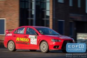 Jasper van den Heuvel en Lisette Bakker, winnaars van de Rally van Putten 2015 in een Mitsubishi Lancer EVO 10