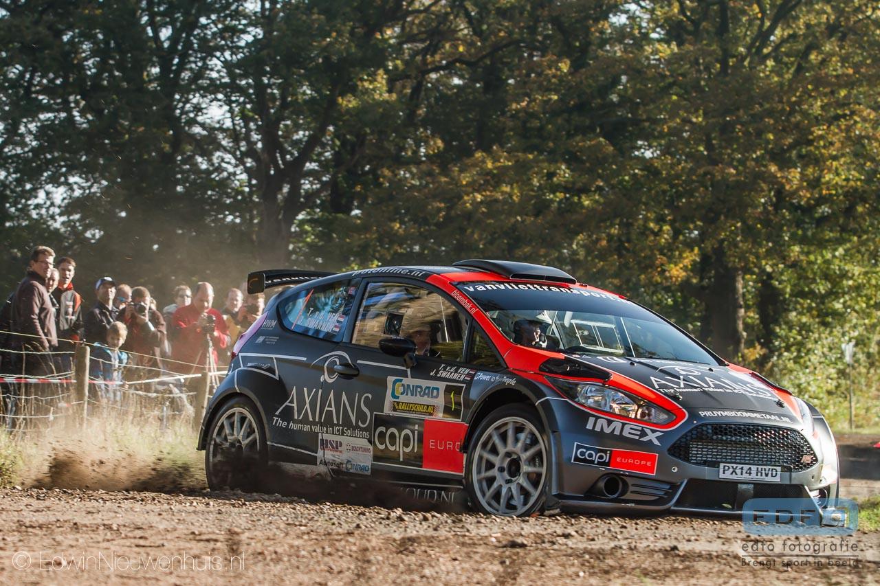 Jeroen Swaanen en Toine van de Ven winnen met een Ford Fiesta R5 de Conrad Euregio Rally 2014 in en rondom Hengelo